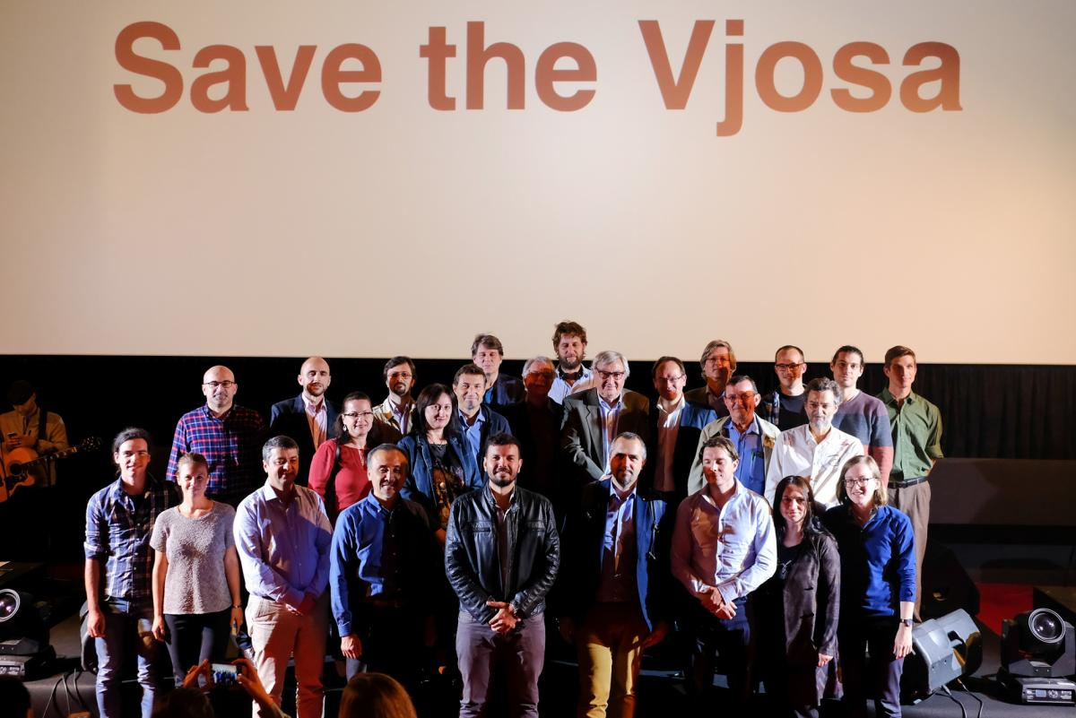 Scientists at the Wild Rivers Night show their support for protecting the Vjosa river. © Nick St. Oegger