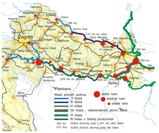 Navigation plans: Planned upgrade of the Sava River. Source: Croatian Space Plan, 2013