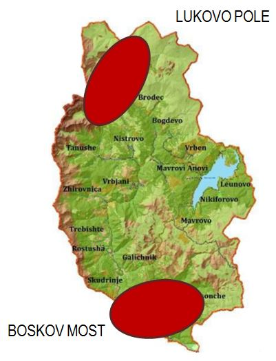 "The location of the HPP project sites Lukovo Pole and Boskov Most inside the national park. Source: Stakeholder Engagement Plan, Project: ""Hydropower Plant Boskov Most"", prepared by GEING KuK Skopje"