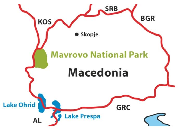 Location of Mavrovo National Park in Macedonia,  prepared by Kerstin Sauer