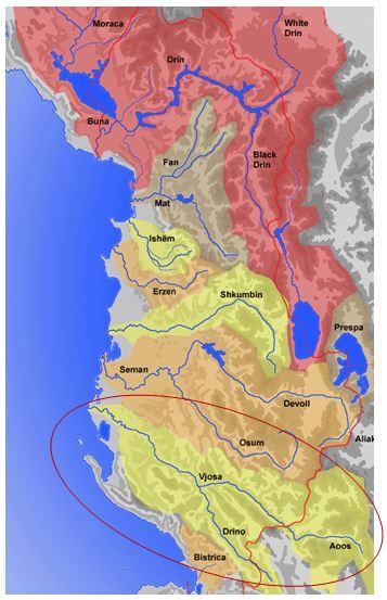 Große Flusseinzugsgebiete in Albanien – das Einzugsgebiet der Vjosa ist rot markiert. Quelle: Wikipedia