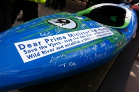 DAY 1 - This kayak serves as special petition for the protection of the Vjosa river. It will be signed during the tour and handed over to the Albanian Prime Minister Edi Rama at the end of the tour on May 20.