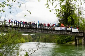 """DAY 2 - Afternoon of 17.4.: Sava Dolinka, joint action of fishermen and kayakers against the dam project """"Globoko"""". This project would destroy Huchen habitat."""