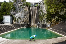 DAY 2 - HPP Moste: On the second day, kayakers paddled the Sava Dolinka starting just below HPP Moste, the tallest dam in Slovenia.