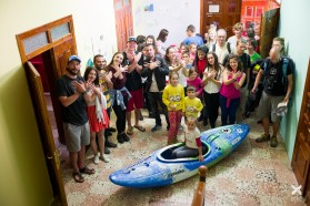 Day 29: A reception was organized for the kayakers in Tepelena (Albania), where the kayakers will be camping right by the Vjosa for the next 4 days.