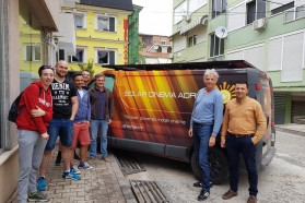 Currently, the bus is touring the Vjosa valley to screen the film in affected communities of projected dams. Albania has an enormous potential for solar power. The Vjosa doesn't need to be destroyed for energy – there are green alternatives! From left to right: Karlo, Tomislav, Marko, Juraj (VIA SOLIS TEAM) Luis Costa (MAVA Foundation), Ulrich Eichelmann (Riverwatch, Save the Blue Heart of Europe), Olsi Nika (EcoAlbania, Save the Blue Heart of Europe)