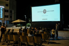 """About 100 people watched """"Blue Heart"""" at the screening in Permet, a town along the upper Vjosa reach."""