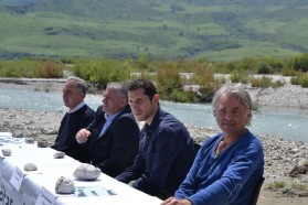 From left to right: Prof. Dr. Spase Shumka (Biodiversity Expert, PPNEA), Hysni Cela (Mayor of Qesarat), Kujtim Mersini, (CEO of PPNEA - Protection and Preservation of Natural Environment in Albania), Ulrich Eichelmann (CEO of Riverwatch).
