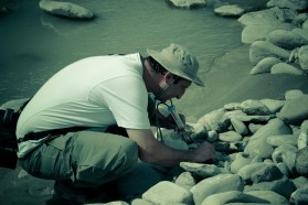 Scientists at work: Slacho Hristovski from the Macedonian Ecological Society (MES).