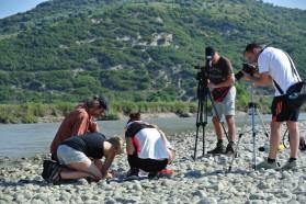 Macrozoobenthos group under media observation.