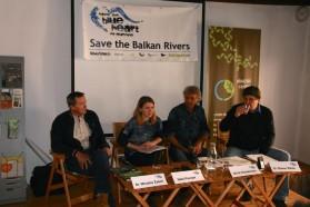 Von l. nach re.: Miroslav Žaberl/Slovenian Angling Alliance, Neža Posnjak/Save the Blue Heart of Europe Slovenia, Ulrich Eichelmann/Riverwatch, Steven Weiss/Karl-Franzens University Graz.