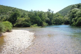 The confluence of Krka and Una. The Krka is a border river: the right bank is Bosnia, the left is Croatia.